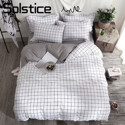 Titik Balik Matahari Tekstil Rumah Hitam Kisi Selimut Penutup Sarung Bantal Tidur Sederhana Lembar Anak Gadis Set Tempat Tidur 3/4Pcs Single double Seprai