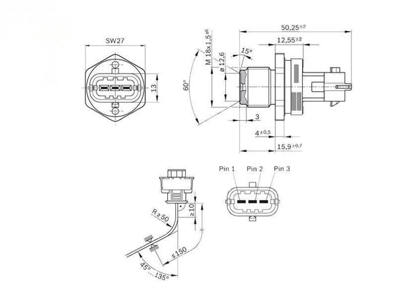 sensor, fuel rail pressure for bosch chevrolet captiva epica lacetti nubira  optra 0281002921 0 281 002 921-in fuel supply & treatment from automobiles
