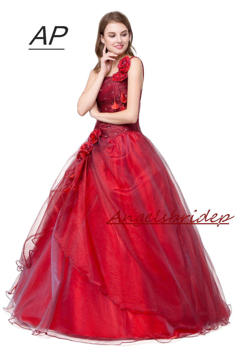 Image 4 - ANGELSBRIDEP Quinceanera Dress Red Vestidos De 15 Anos Sexy One  Shoulder Masquerade Ball Gowns Formal Party Gowns 2020 Hot Saleball  gown formalmasquerade ball gownsquinceanera dresses red