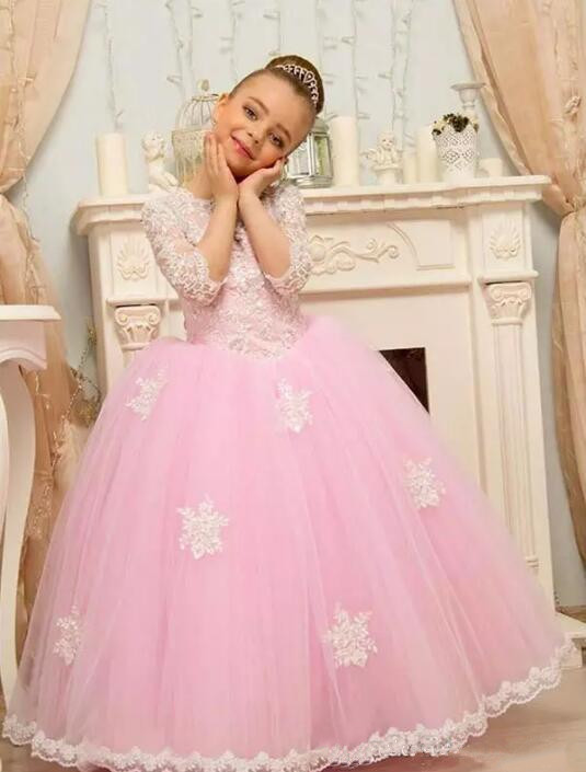 Adorable Lace Little Girls Pageant Dress Floor Length 3/4 Long Sleeves Kids Tulle Ball Gown Custom Made Flower Girl Dress pink lace up design cold shoulder long sleeves hoodie dress