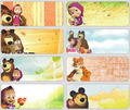 50pcs/lot 46*18mm New Masha and Bear the stickers for boys girls hot selling