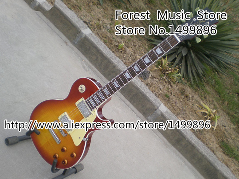 High Quality Cherry Sunburst Tiger Flame 22 Frets LP Standard Electric Guitar With Silver Hardware Lefty Available new arrival lp standard electric guitar left hand red sunburst with yellow binding