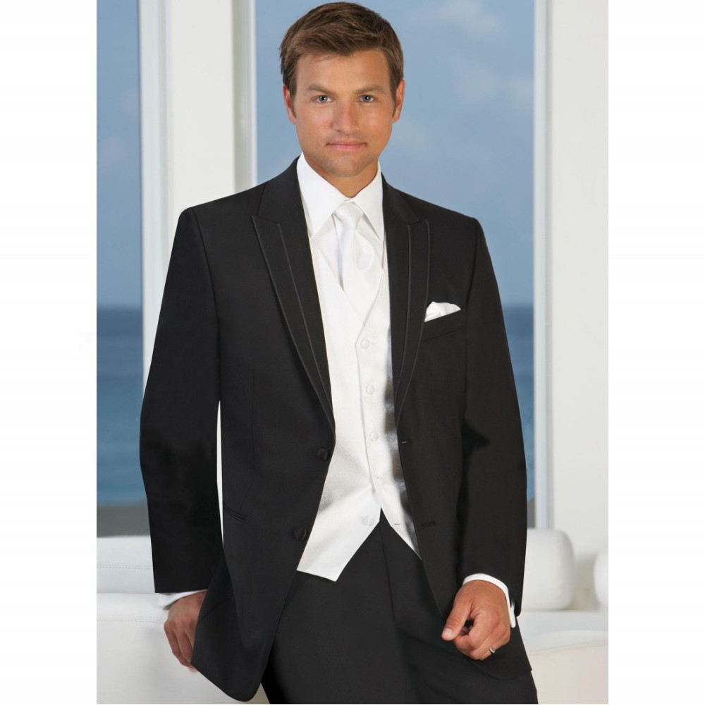 Dark Black White Vest Men Suit Groomsmen Tuxedos 3 Piece Suit ...