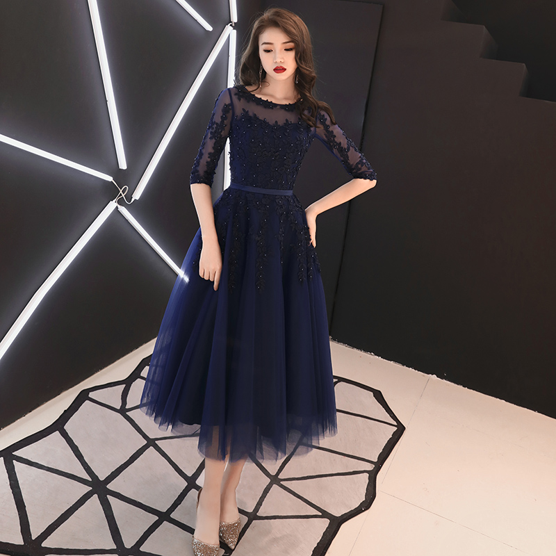 Navy Blue Formal Evening Gown With Half Sleeves Luxury Lace Appliques Beading Tea-Length Mother Of The Bride Dresses Plus Size