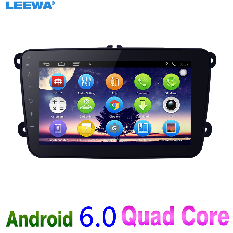 LEEWA 8 8inch Ultra Slim Android 6.0 Quad Core Car Media Player With GPS Navi Radio For VW Sharon/Amarok/Caddy/EOS #CA5430 feeldo new 8 ultra slim android 6 0 quad core car media player with gps navi radio for vw golf polo jetta skoda octavia gift