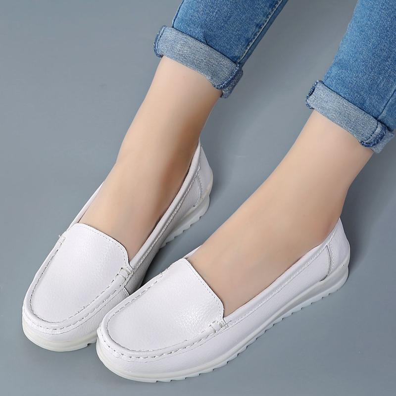 Nurse shoes white wedges women 39 s shoes casual shoes white beautician work shoes shallow mouth single shoes women in Women 39 s Flats from Shoes