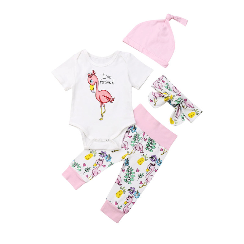 Baby Girl Cotton Clothes Set Casual Newborn Baby Girl Flamingo Pattern Short Sleeve Romper Tops Printed Long Pants 4Pcs Outfits