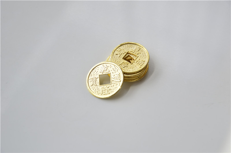 20PCS 24mm Golden Chinese Ancient Feng Shui Lucky Coin Good Fortune Ten Emperors Antique Wealth Money For Collection Gift