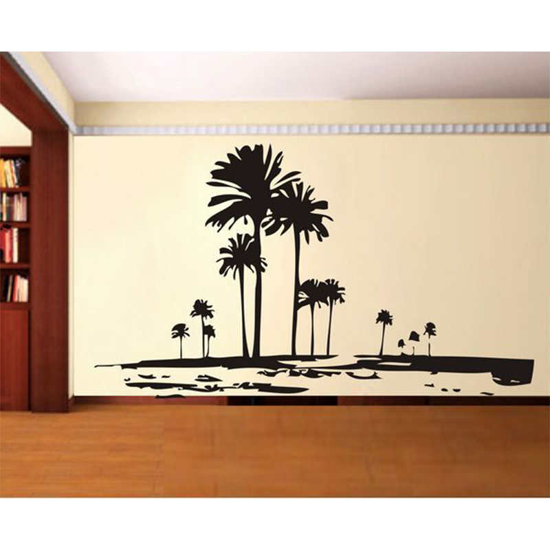 Us 15 57 18 Off Tall Palms Tree Wall Decal Retro Deor Of Trees Unique Sticker In Stickers From Home Garden On Aliexpress