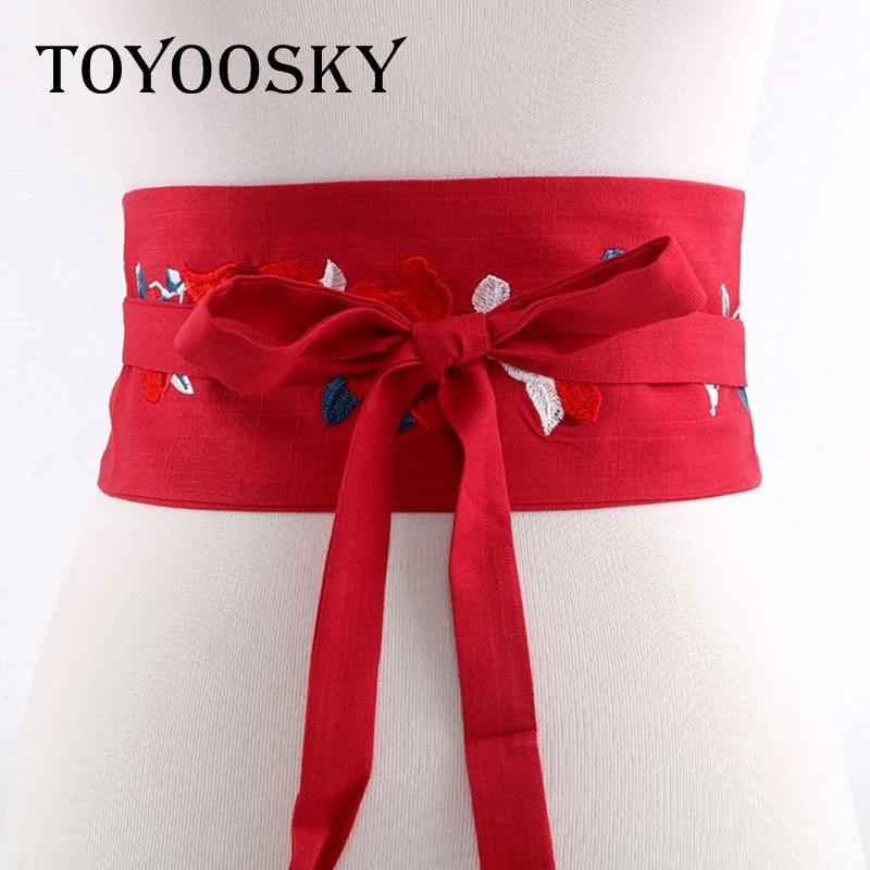 2018 New Arrival Harajuku Luxury Flower Printed Women Wide Belt Fabric Wide belt girdle belt skinny belt for women TOYOOSKY in Women 39 s Belts from Apparel Accessories