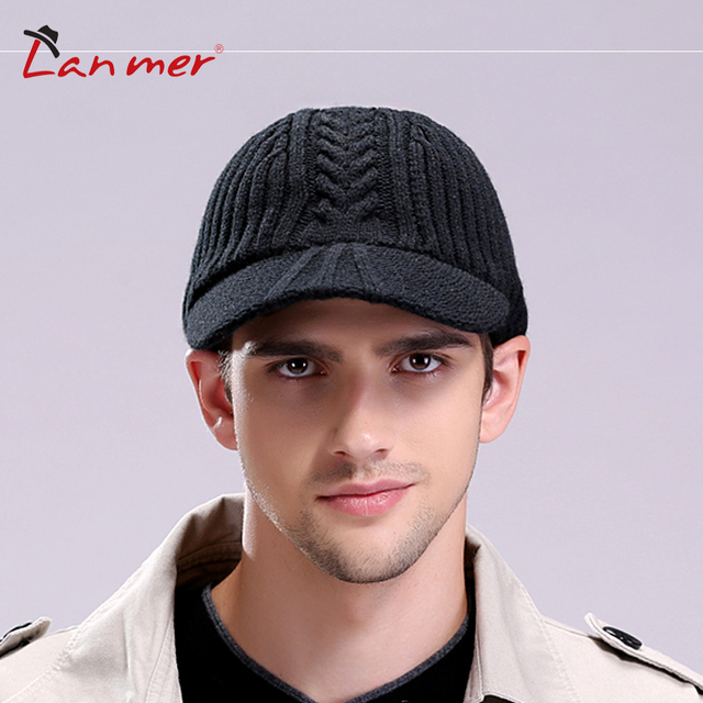 2017 Rushed Time-limited Fitted Adult Solid Men Lanmer Winter Male Cap Knitted Hat Belt Vintage Casual Thermal Free Shipping