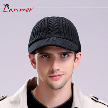 Lanmer winter male cap knitted hat belt vintage casual hat winter thermal knitted hat Free shipping
