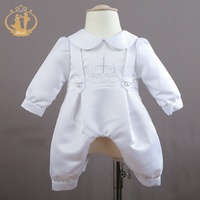 Nimble Baby Boy Clothes Cotton Broadcloth Solid Full Sleeve Baby Set Newborns Clothes Baptism Dress Tops Roupa Infantil Baptism