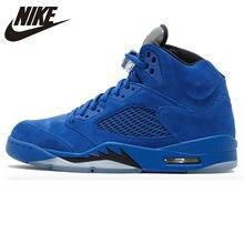 huge discount 29bd5 b1f64 Nike Air Jordan 5 Blue Suede AJ5 Blue Suede Men s Basketball Shoes  Sneakers, Original Outdoor Comfortable Sport Shoes 136021 401