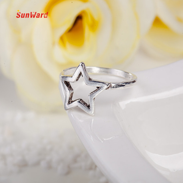 OTOKY Silver Ring Mid Midi Above Knuckle Ring Star Moon Five-pointed Star Women
