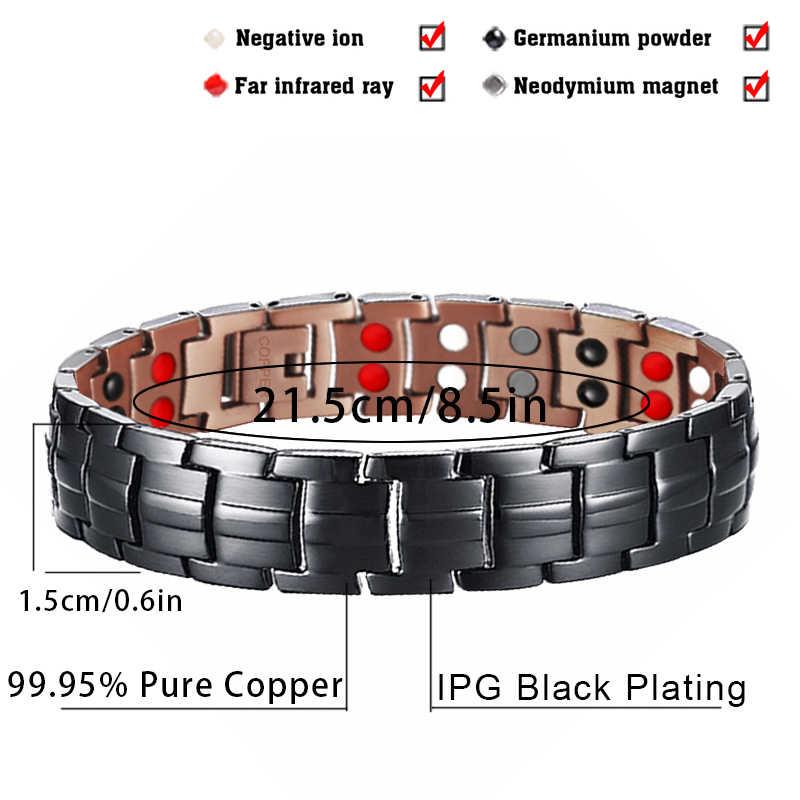 Hottime 99.95% Чистый медный Магнитный браслет и браслет для мужчин исцеляющая энергия двойной ряд 4 в 1 черное оружие с покрытием мужские браслеты