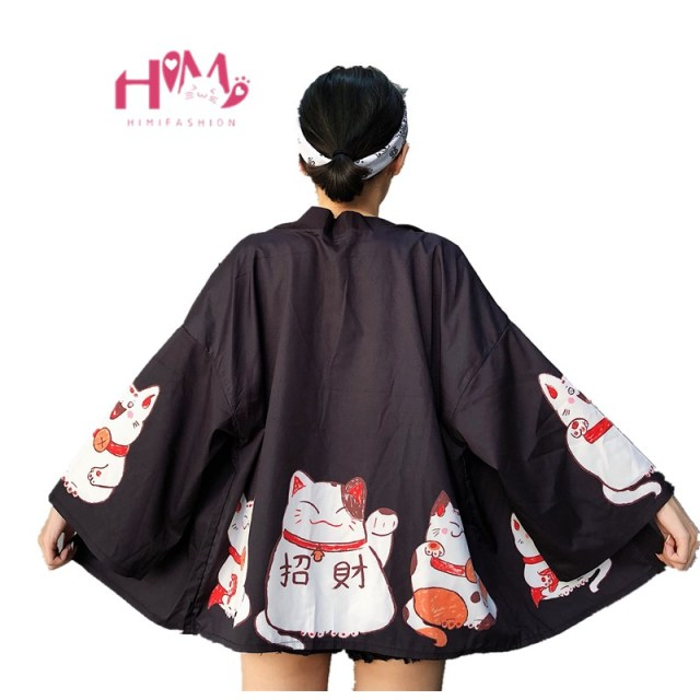 Kpop Ulzzang Cute Fashion Women's Kimono Summer Japanese Harajuku Street Shirts Vintage Kawaii Cat Blouses Female Cardigan Tops
