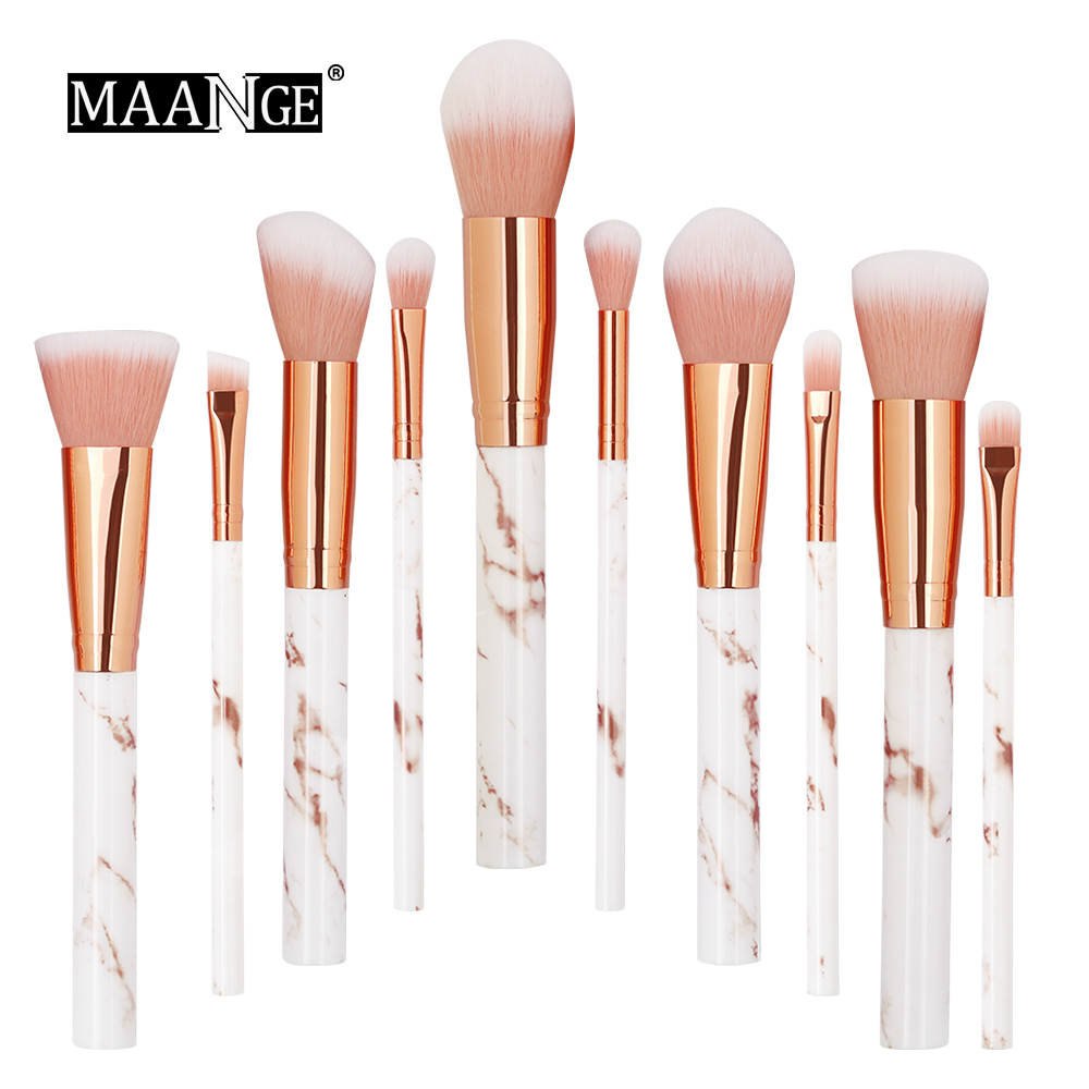 MAANGE 10Pcs Kits Makeup Brushes Set Professional Powder Foundation Concealer Eye shadow Lip Soft Make Up brush Comsestic Tools new oval makeup brush set professional concealer foundation powder blending brushes toothbrush make up tools