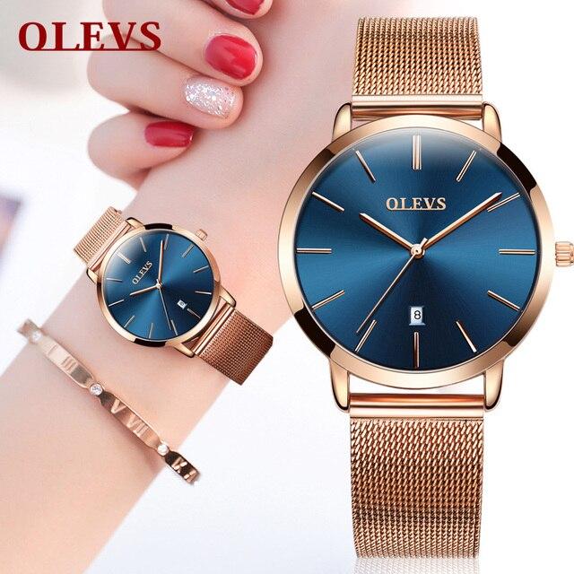 OLEVS Donne orologi in oro rosa orologio bracciale In acciaio Inossidabile della vigilanza Del Quarzo delle donne ultra sottile Delle Signore orologi da polso per le donne Orologio
