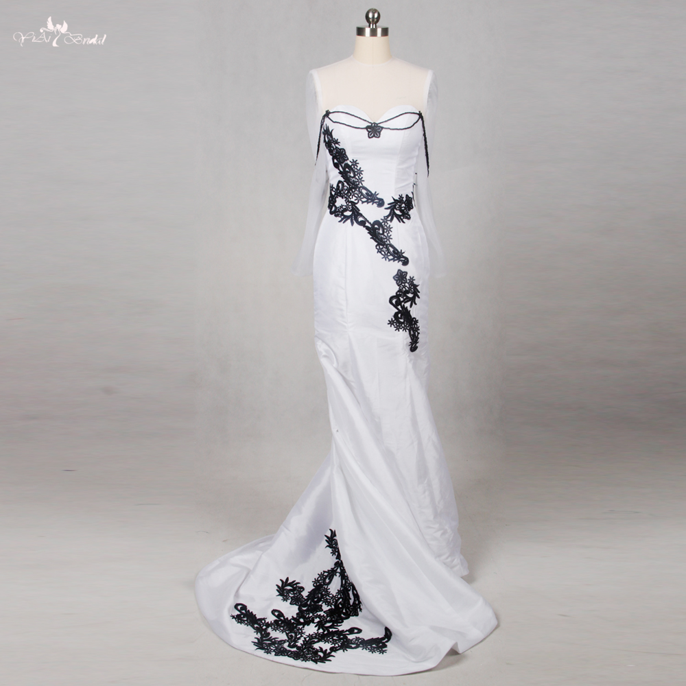 RSE792 Lace Mermaid Gothic Wedding Dress Wedding Gowns Black White ...