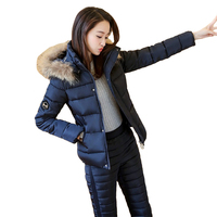 Winter Women's Two pieces Sets Real fur collar Hooded Short Cotton jacket Tops and Elastic waist Trousers Warm Suits Female N271