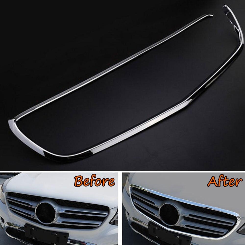Décoration de cadre de garniture de bâti de couverture de gril de Grille avant d'abs pour Benz GLC classe X205 GLC200 2015 2016 couvertures de style de voiture
