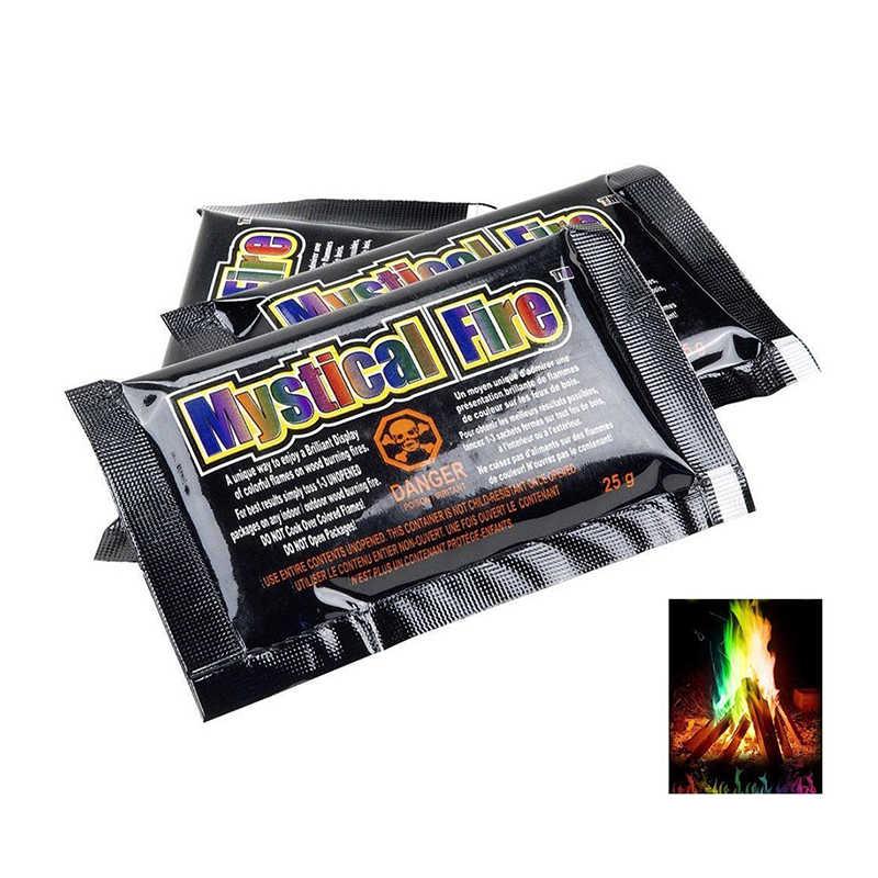 Dropshipping 4pcs 15g Mystical Fire Packs Magic Tricks Coloured Flames  Powder Bonfire Party Sachets Pit Patio Colorful Flame