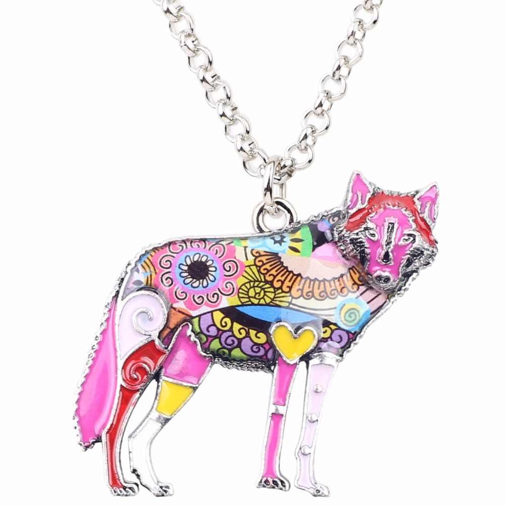 Bonsny Pernyataan Paduan Seng Liar Hewan Serigala Choker Kalung Rantai Pendant Collar Fashion Baru Enamel Perhiasan Untuk Wanita Gadis