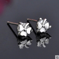 Clover fashion all-match pure silver stud earring female s925 silver stud earring pure silver stud earring female