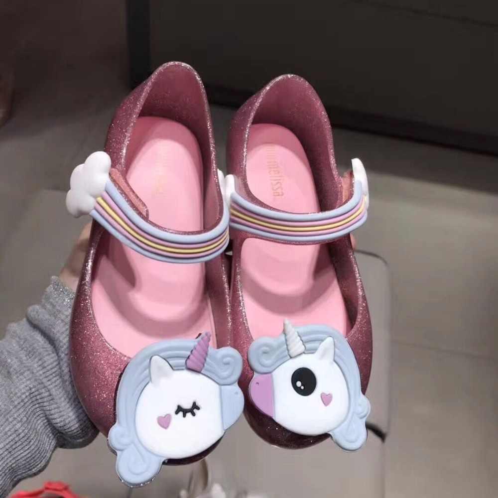 EMS DHL מיני מליסה בנות סנדלי ג 'לי נעלי תינוק בנים בנות סנדלי קשת Unicorn נגד החלקה מליסה חוף סנדלי נעליים