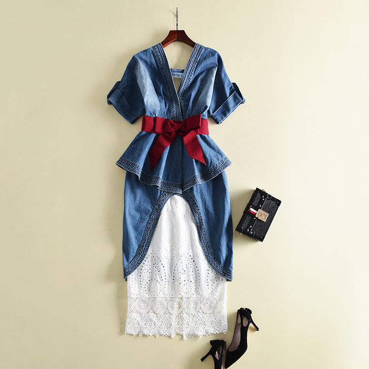 Haute qualité 2018 Designer robe de piste femmes été v-cou mi-mollet dentelle Denim robe deux pièces robe