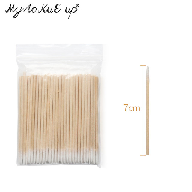 300pcs Disposable Ultra-small Cotton Swab Lint Free Micro Brushes Wood Cotton Buds Swabs Eyelash Extension Glue Removing Tools 2