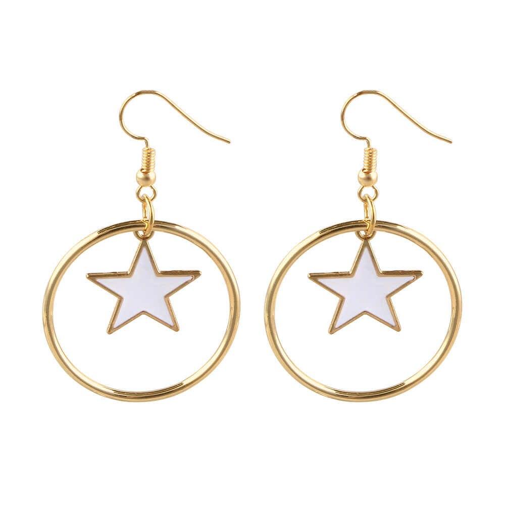 ... 2018 Trendy Crystal Geometric Dangle Earrings Rhinestone Star Round  Long Drop Earrings For Women Girls Party ... 3e8a72414cf3