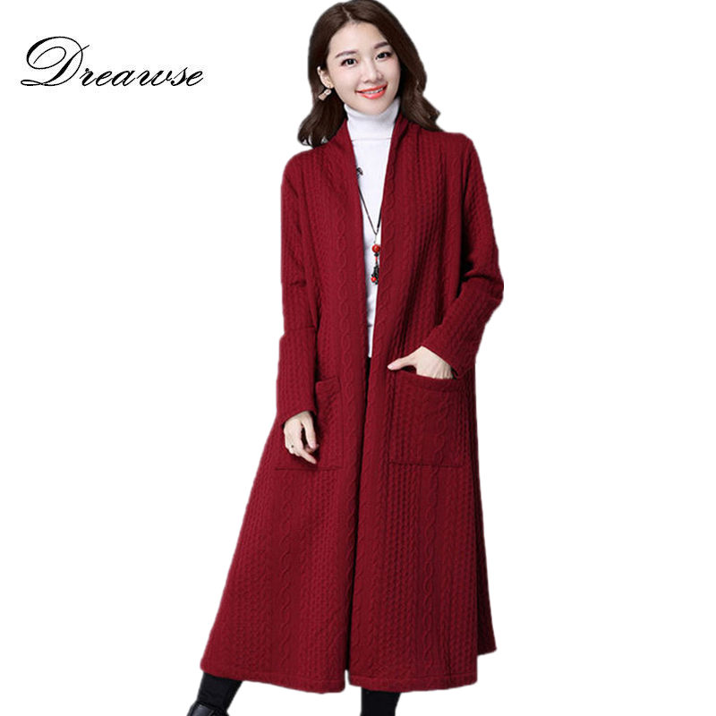 Dreawse Autumn Windbreaker Female Long-Sleeve Thickening Slim Solid Color Casual Cardigan Large Size Women   Trench   Coat MZ2934