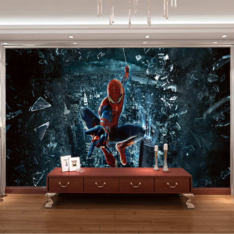 wholesale 3d wall murals wallpaper for baby kids room 3d photo mural child room spiderman murals