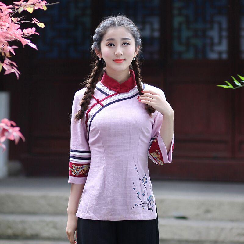 Venta caliente Para Mujer Tapas de La Camisa de Lino de Algodón de estilo Chino