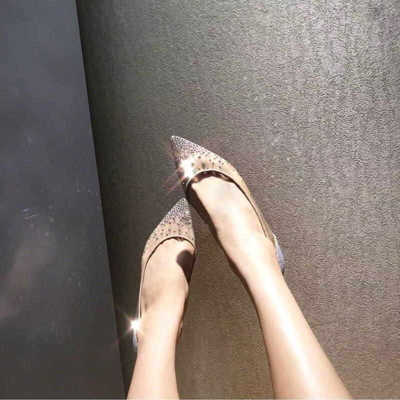 Nueva Zapatos Mujer Pisos Dedo De Ballet Puntiagudo 1 en Genuino Cuero Bling Fiesta Del Moda Slip 2019 Verano Stkehidba Pie 5xwqRIf7f