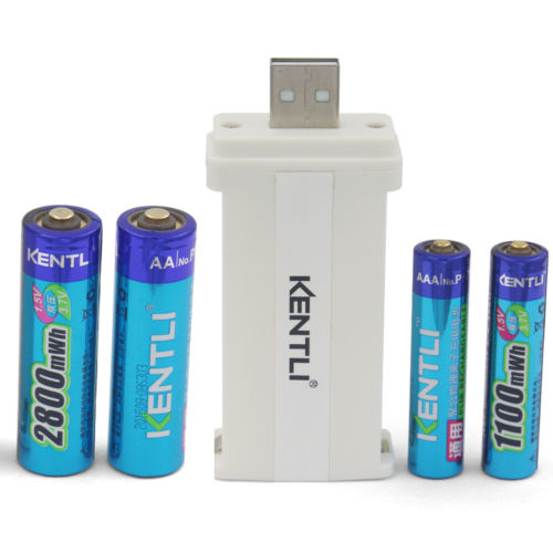 Kentli 2 AA 3000mwh+2 AAA1100mwh rechargeable Lithium 1.5V battery+1 usb charger