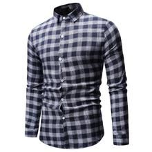 Plaid Long sleeve Shirt Men Lapel Blouse Mens Clothing Lattice Check Design Camisa social Casual Shirts Gray Red Blue