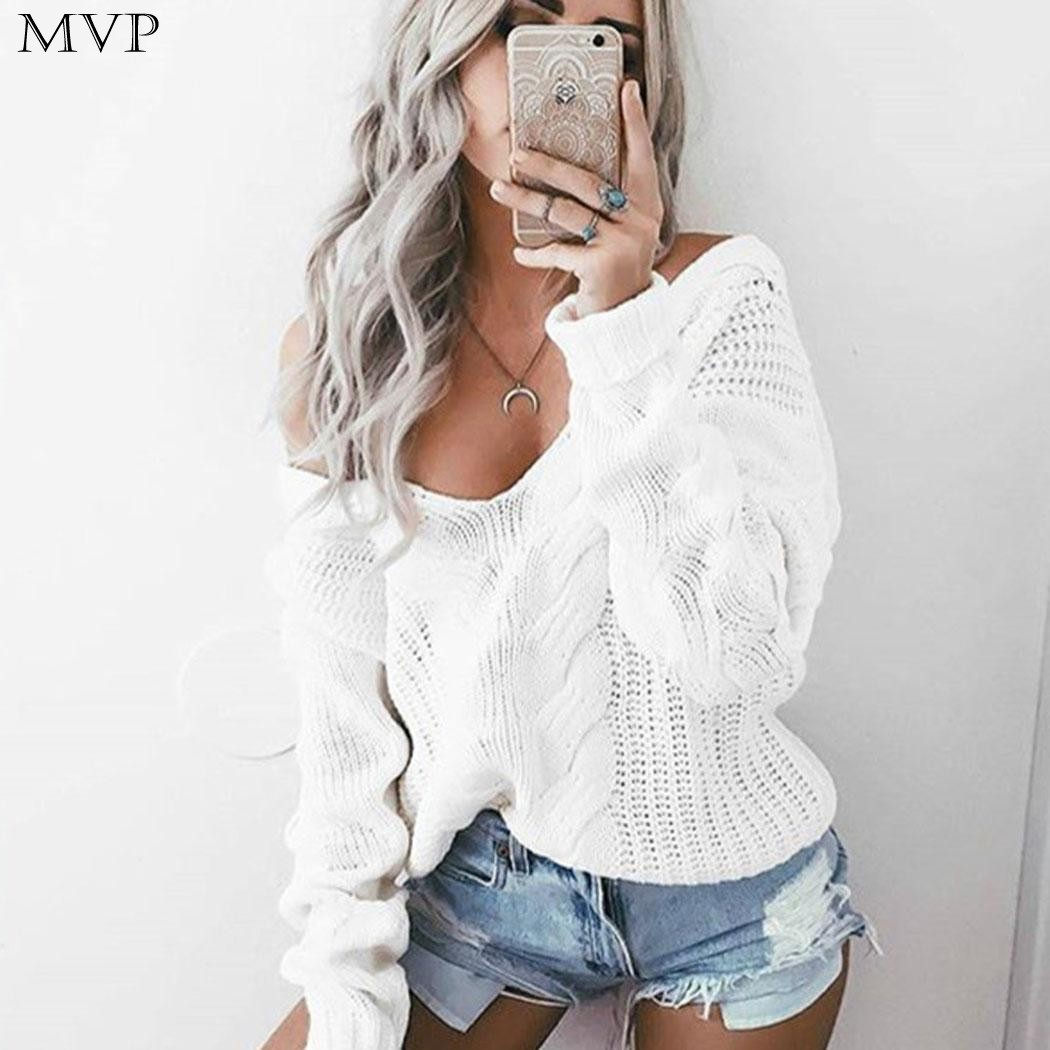 Winter Knitted Sweater Women 2017 Casual Christmas Sweater V Neck Long Sleeve Loose Women Sweaters and Pullovers pull femme
