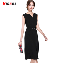 HIGBRE Women Summer Casual Sleeveless Dress Silk High Quality Party Long Ladies Dresses Plus Size 2017 Split Dress elbise bayan