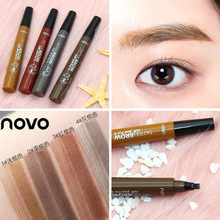 NOVO Brand Blogger Four fork Liquid eyebrow pen Lasting Color rendering waterpro