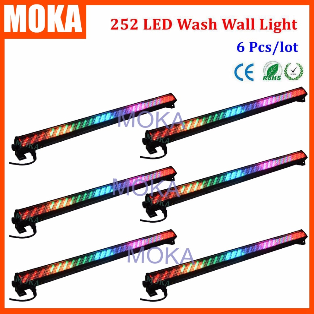 6PCS/LOT Nightclub 252 Led 10mm Washer Wall Dyeing Floor Light DJ Lighting Stage Special Lighting For TV Show