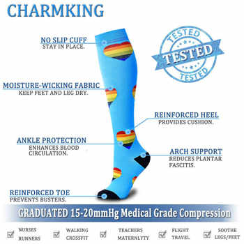 Compression Socks (7 Pairs), 15-20 Mmhg Is BEST Graduated Athletic & Medical for Men & Women, Running, Flight, Travels