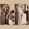 Malha branca e Pele Lingerie V Pescoço Vestido Sexy 60365 camisola Guarnição Glamour Noite Robe Camisola Sleepwear Plus Size 4XL vestido + calcinha fio dental