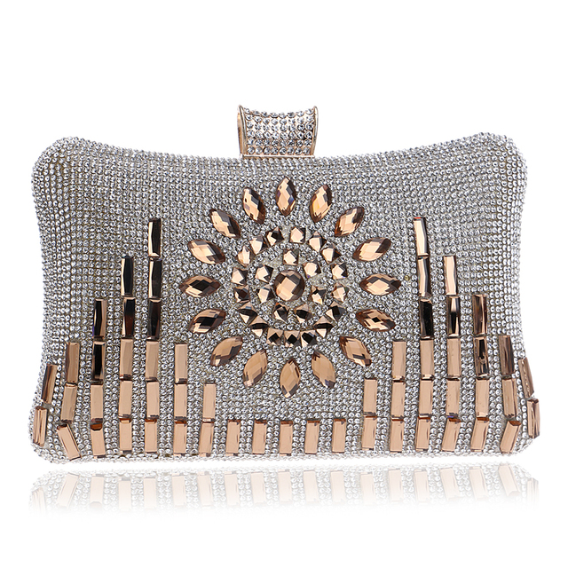 Acrylic rhinestones women evening bags one side diamond metal messenger handbags day clutches purse evening bags for wedding