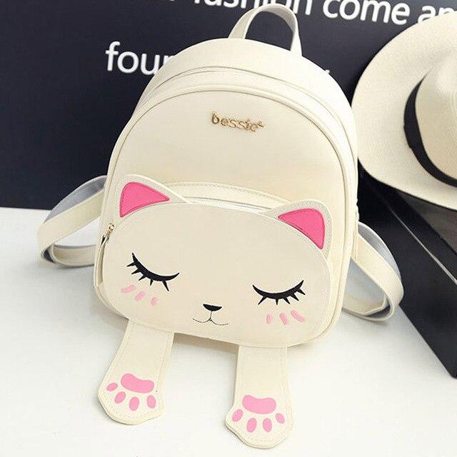 Cat Backpack Black Preppy Style School Backpacks Funny Quality Pu Leather Fashion Women Shoulder Bag Travel Back Pack Sac XA531B