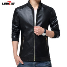 hot sale 2017 new men s leather jacket catwalks shall Slim Motorcycle PU leather Coat high