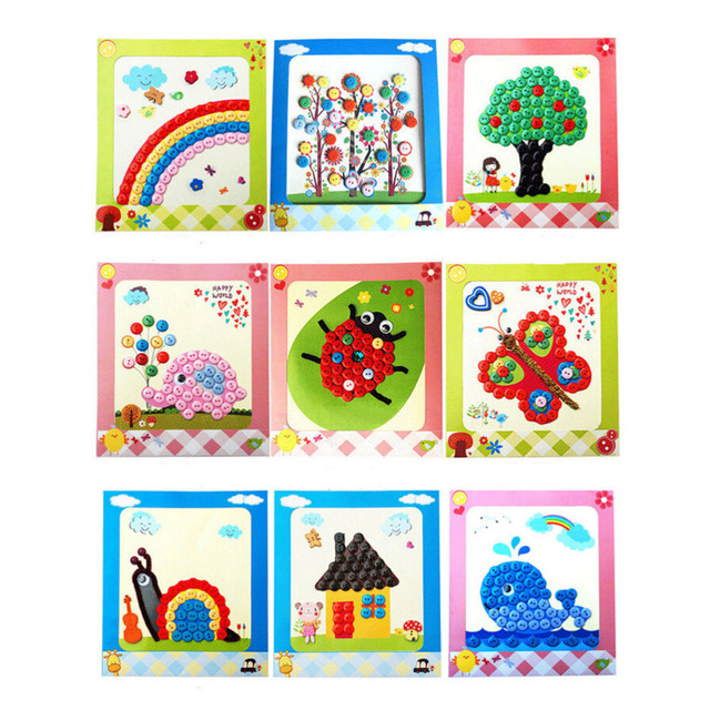 new hot kids diy picture handmade buttons paste mosaic painting children drawing toys creative art educational