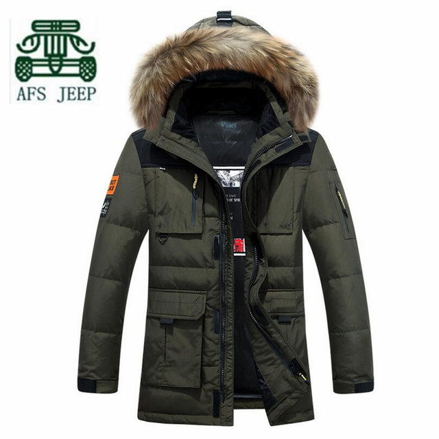 AFS JEEP Black/Red/Army Green Man's Winter Down Parkas Coats,Big Fur Hooded Cardigan Long Coat,Man's Winter Military Coats